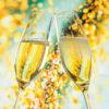 NJ6001_1200x1201_Neujahrskarte Champagnergläser im Goldregen